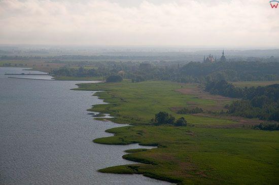 Lotnicze, Pl, warm-maz. Zalew Wislany, panorama na Frombork.