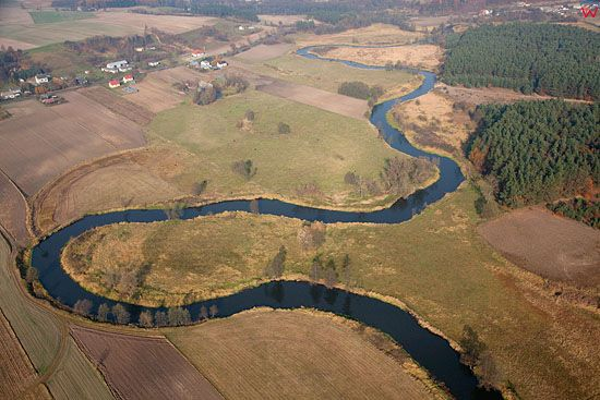 Lotnicze, PL, kujawsko-pom. Rzeka Drweca w okolicy Golubia Dobrzynia.