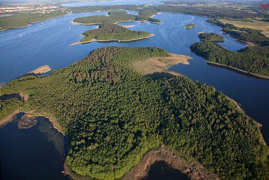 Lotnicze, EU, PL, Warm-Maz. Jezioro Kisajno. Wyspa Gorny Ostrow.