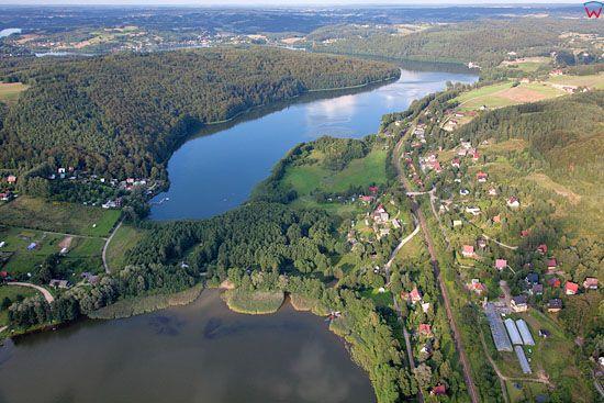 Lotnicze, EU, PL, Pomorskie. Kaszubski Park Krajobrazowy. Jezioro Potulskie i Ostrzyckie, okolica wsi Krzeszna.
