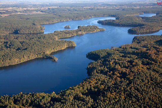 Lotnicze, EU, PL, granica wojewodztw Kujawsko - Pomorskiego i Warminsko-Mazurskiego. Pojezierze Chelminskie. Jezioro Parteczyny Wielkie.