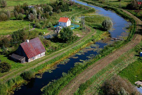 Lotnicze, EU, PL, warm-maz. Zulawy Wislane rzeka Dzierzgon.