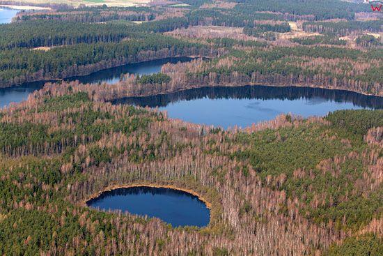 Jezioro Biala Kuta i Krzywa Kuta. Lotnicze, EU, Pl, warm-maz.