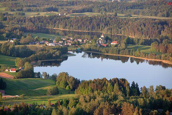Jezioro Szelment Maly. Wies Rybalnia. EU, Pl, warm-maz, LOTNICZE.