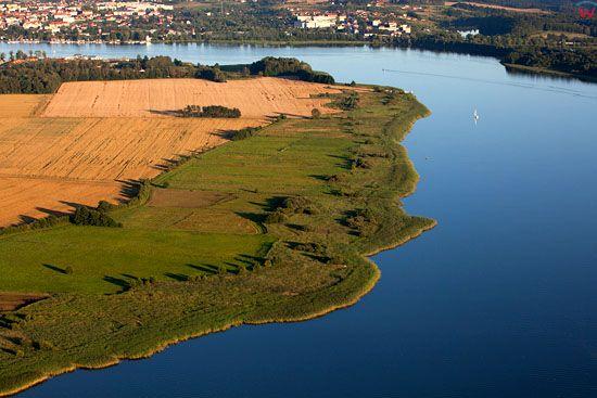Jezioro Drweckie w Ostrodzie. EU, Pl, warm-maz. Lotnicze.