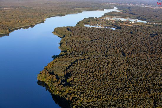 Jezioro Szelag Wielki. EU, Pl, warm-maz. Lotnicze.