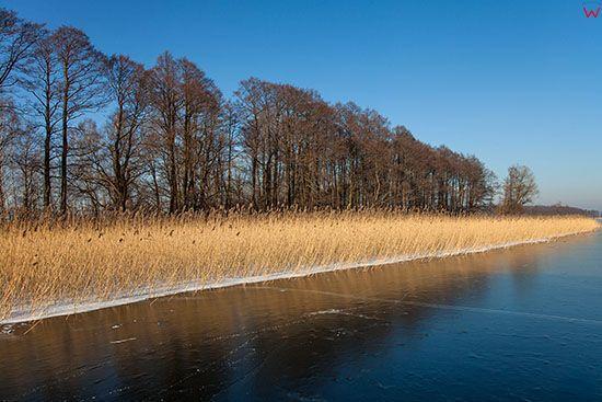 Jezioro Kisajno pokryte lodem. EU, PL, Warm-Maz.