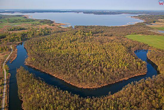 Wegorzewo, Kanal Wegorzewski i rzeka Wegorapa. EU, Pl, Warm-Maz. Lotnicze.