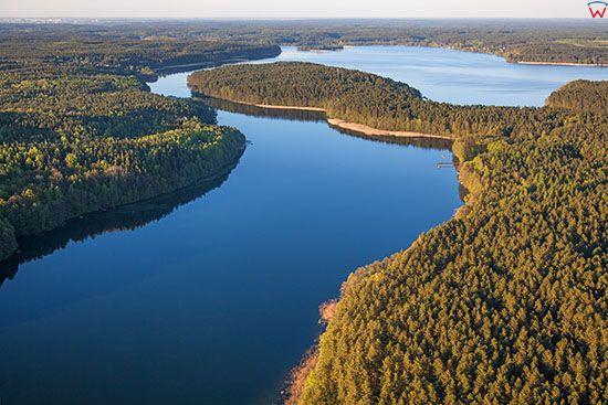 Jezioro Pluszne Male i Wielkie. EU, PL, Warm-Maz. Lotnicze.