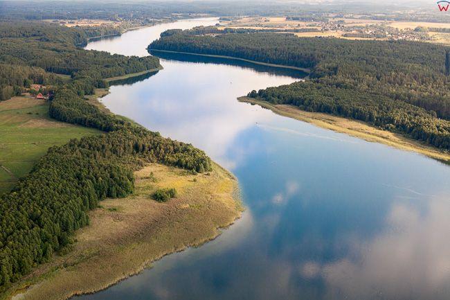 Jezioro Szelag Wielki polozone na NE od Ostrody. EU, Pl, Warm-Maz. Lotnicze.
