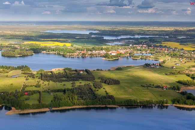 Jezioro Kalwa z panorama na Pasym. EU, Pl, warm-maz. Lotnicze
