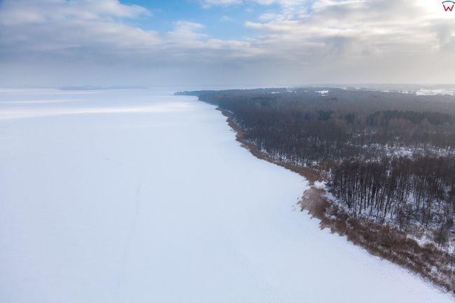Jezioro Dargin 17.01.2017 r. Fuledzki Rog. Wielkie Jeziora Mazurskie zimowa pora. EU, Pl, Warm-Maz. Lotnicze.