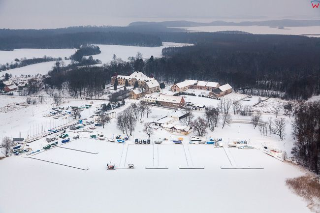 Sztynort, 17.01.2017 r. port zeglarski zimowa pora. EU, Pl, Warm-Maz. Lotnicze.