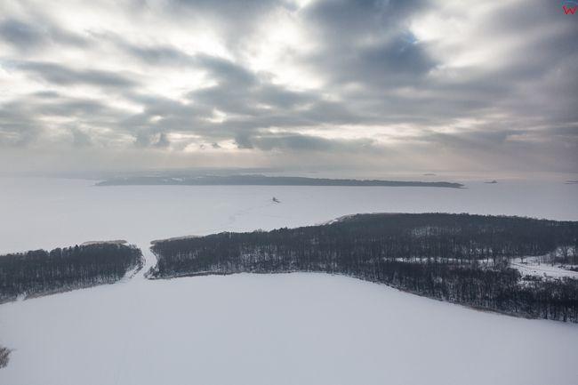 Jezioro Sztynorckie i Dargin 17.01.2017 r. Wielkie Jeziora Mazurskie zimowa pora. EU, Pl, Warm-Maz. Lotnicze.