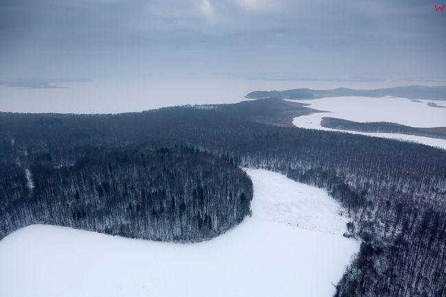 Jezioro Kirsajty, 17.01.2017 r. Wielkie Jeziora Mazurskie zimowa pora. EU, Pl, Warm-Maz. Lotnicze.
