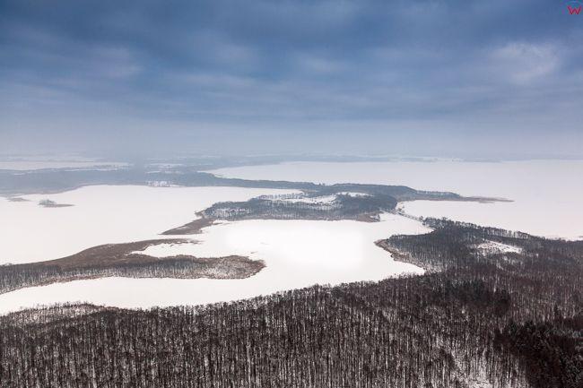 Jezioro Kirsajty, Mamry i Swiecajty 17.01.2017 r. Wielkie Jeziora Mazurskie zimowa pora. EU, Pl, Warm-Maz. Lotnicze.