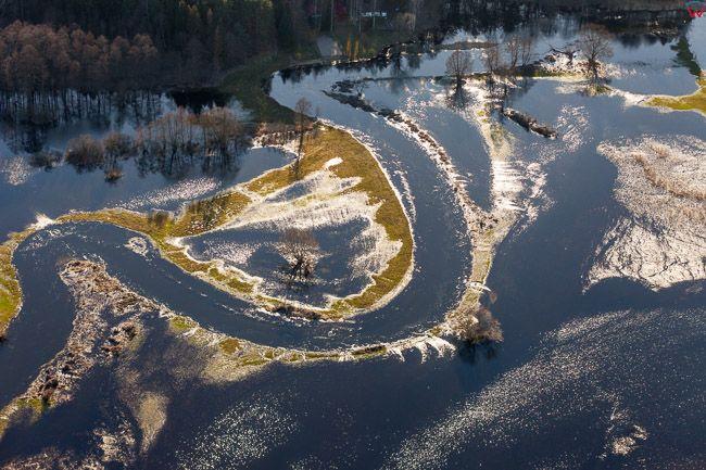 Dolina rzeki Drwecy. Wiosenne rozlewiska w okolicy Szerokie. EU, PL, Kujawsko - Pomorskie. Lotnicze