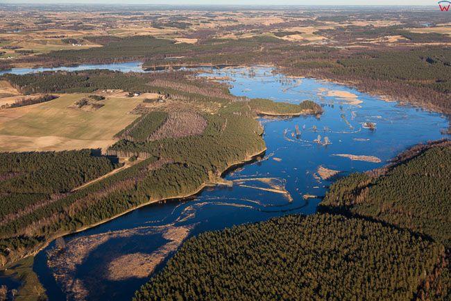 Brodnicki PK, rozlewiska rzeki Drwecy w okolicy Szerokie. EU, PL, Kujawsko - Pomorskie. Lotnicze