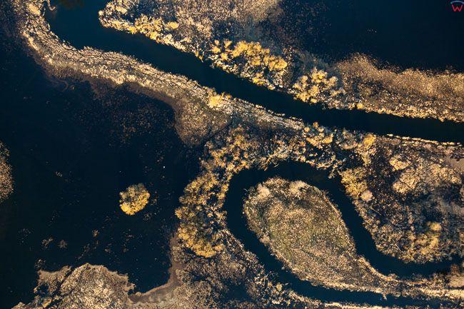 Brodnicki PK, wiosenne rozlewiska rzeki Drwecy, okolica Tamy Brodzkiej. EU, PL, Kujawsko - Pomorskie. Lotnicze