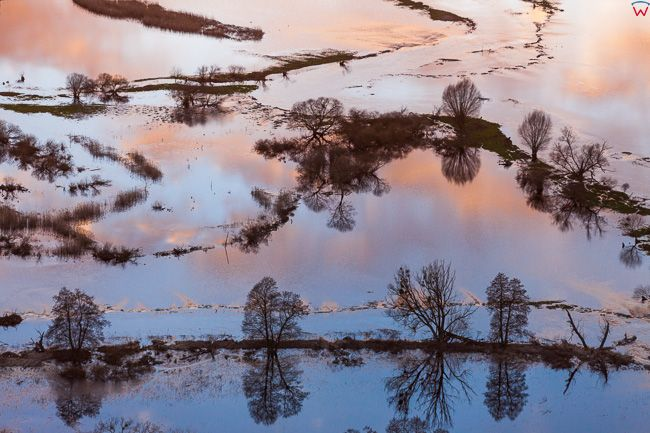 Wiosenne rozlewiska rzeki Drwecy. EU, PL, Kujawsko - Pomorskie. Lotnicze