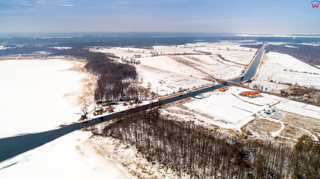 Kanal Jeglinski w zimowej odslonie.  EU, Pl, warm-maz. Lotnicze.