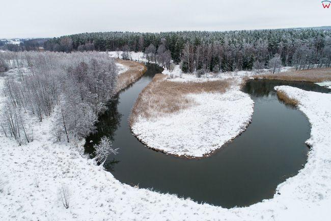 Lyna, meandry rzeki na odcinku Olsztyn - Dobre Miasto. EU, PL, warm-maz. Lotnicze.