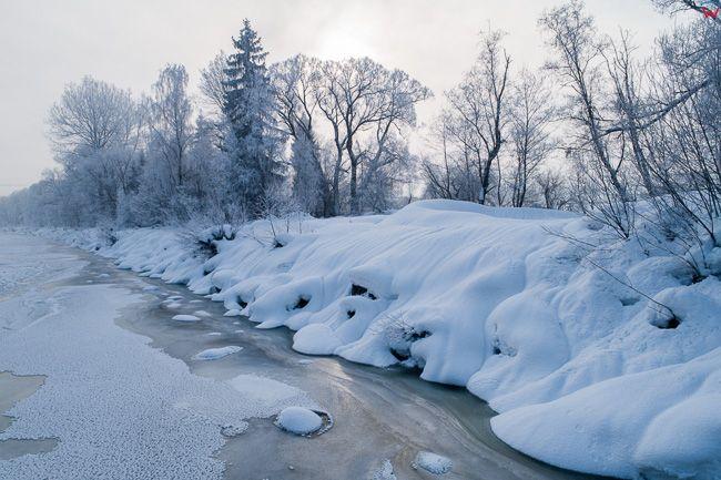 Dunajec, zamarznieta rzeka w okolicy wsi Knurow. EU, PL, malopolskie.