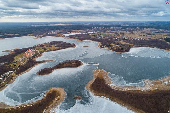 Wigry, jezioro Wigry. EU, PL, Podlaskie. Lotnicze.