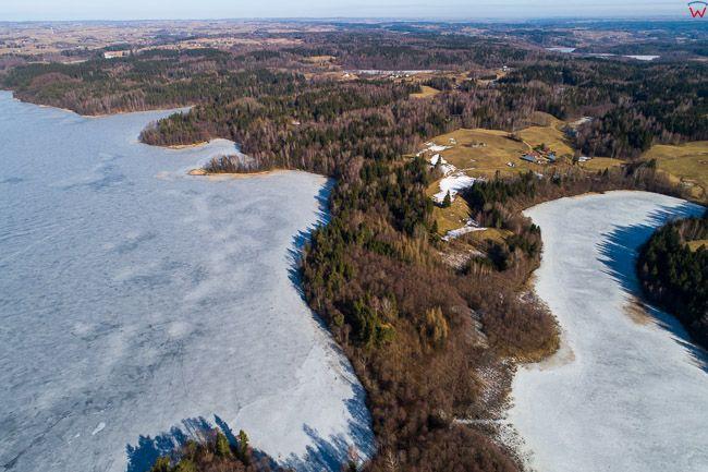 Blaskowizna, jezioro Hancza i Boczniel. EU, Pl, Podlaskie. Lotnicze.