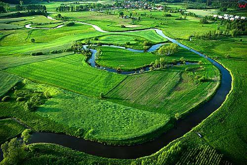 Lotnicze. Rzeka Lyna w okolicy Smolajn.