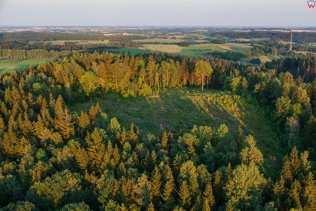 Szeska GĂłra (309 m npm), wierzcholek. EU, Pl, Warm-Maz. Lotnicze.