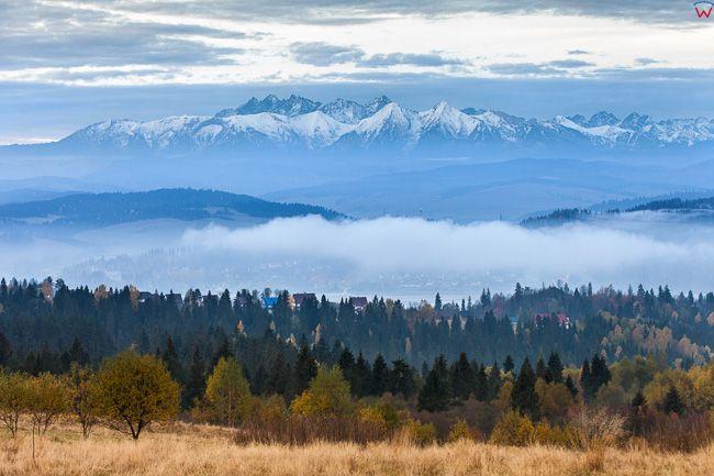 Czorsztyn, panorama na Tatry Bielskie. EU, PL, Malopolskie.