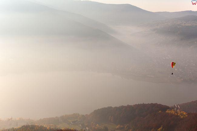 Gora Zar, ulubione miejsce paralotniarzy i szybownikow. EU, Pl, Slaskie. Lotnicze.