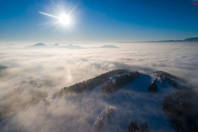 Pieniny, panorama o wschodzie slonca. EU, PL, malopolskie, Lotnicze