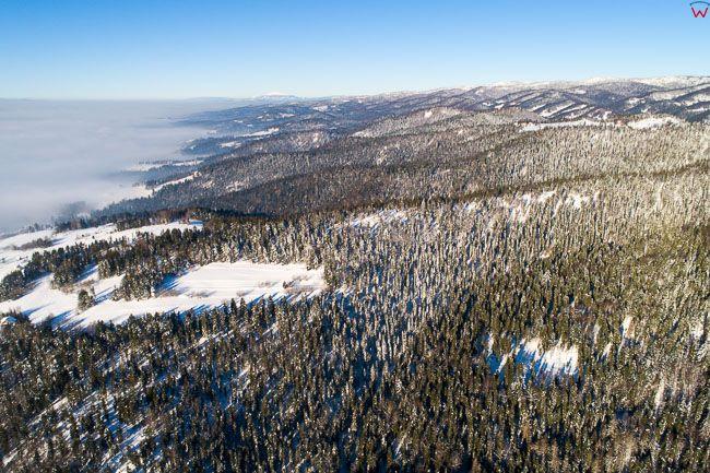 Gorce, panorama poludniowego pasma. EU, PL, malopolskie, Lotnicze