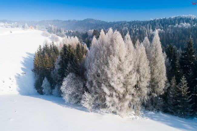 Gorce, poludniowa czesc pasma gorskiego w zimowej scenerii. EU, PL, malopolskie, Lotnicze