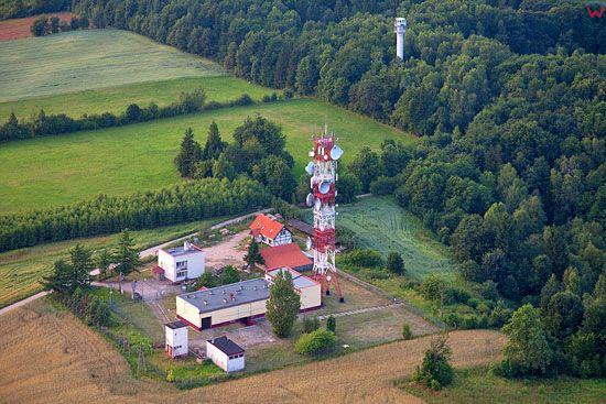 Lotnicze, PL, warm-maz. Park Krajobrazowy Wzgorza Dylewskie. Maszt telekomunikacyjny.