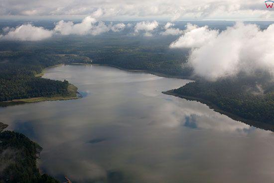 Lotnicze, EU, PL warm-maz. Mazurski Park Krajobrazowy. Jezioro Mokre.