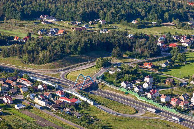Jurowce, skrzyzowanie bezkolizyjne drogi krajowej nr 19. EU, PL, Podlaskie. Lotnicze.