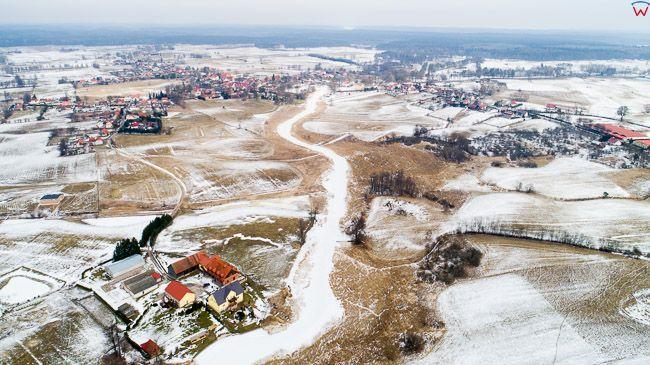 Ukta, Mazurski Park Krajobrazowy, zamarznieta rzeka Krutyn.  EU, Pl, warm-maz. Lotnicze.