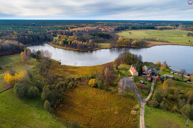 Mazurski Park Krajobrazowy, okolica Wojnowa z jeziorem Dus. EU, pl, warm-maz. Lotnicze