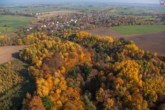 Jesien na Warmii, panorama na miejscowosc Kolno, EU, Pl, Warm-Maz. LOTNICZE.