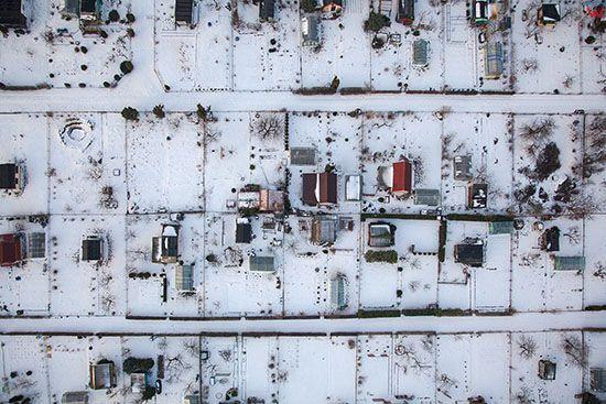 Lidzbark Warminski, pejzaz zimowy. EU, PL, Warm-Maz. Lotnicze.