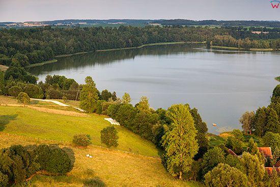 Kiersztanowo, panorama na jezioro Kiersztanowskie. EU, PL, Warm-Maz. Lotnicze.