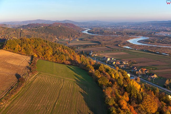 Charzewice, panorama na Wesolow. EU, Pl, Malopolskie. Lotnicze.