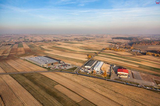 Trzyciaz, panorama na Wyzyne Krakowsko-Czestochowska. EU, Pl, Malopolska. Lotnicze.
