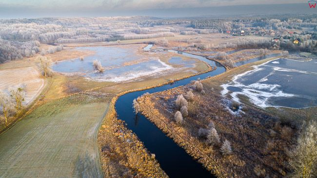 Smolajny, 19.12.2017r. pejzaz warminski z rzeka Lyna. EU, PL, warm-maz. Lotnicze