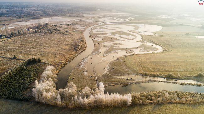 Smolajny, 19.12.2017r. rozlewiska rzeki Lyna. EU, PL, warm-maz. Lotnicze