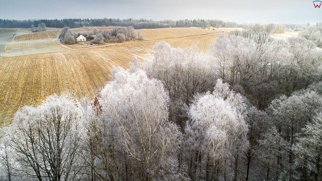 Warmia, zimowe szrony w okolicy Lidzbarka. EU, Pl, warm-maz. Lotnicze.