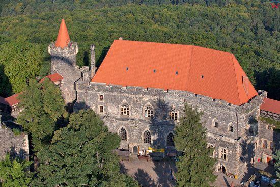 Zamek Grodziec. EU, PL, Dolnoslaskie. LOTNICZE.